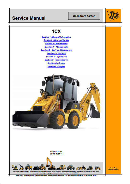 jcb 1cx 208s backhoe loader service repair manual pn 9803 9960 1 rh arepairmanual com jcb 1cx parts manual jcb 1cx service manual