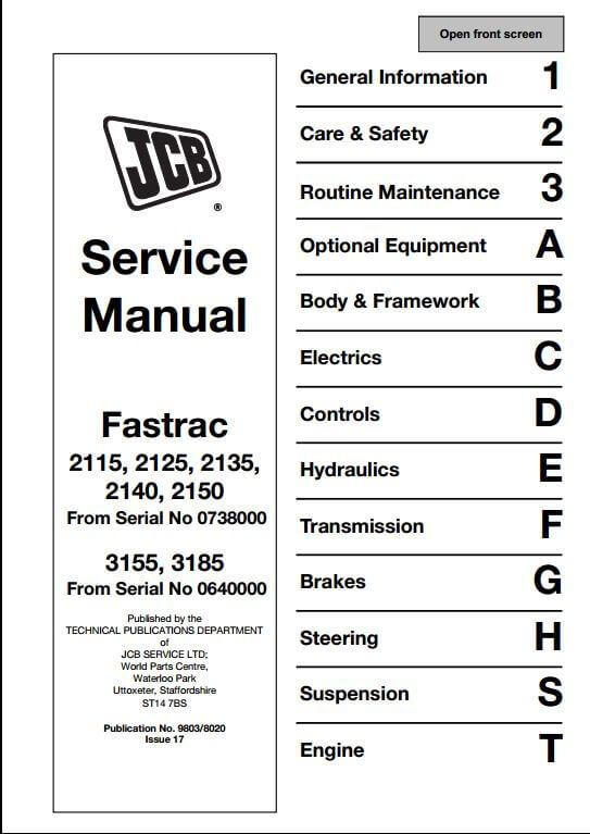 JCB 2115212521352140215031553185 Fastrac Service Repair – Jcb Wiring Schematics