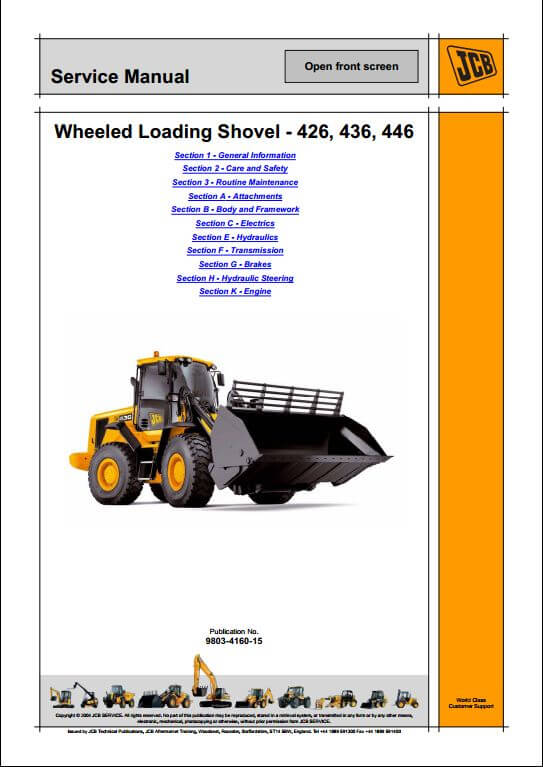 JCB 426 436 446 Wheeled Loader Service Repair Manual