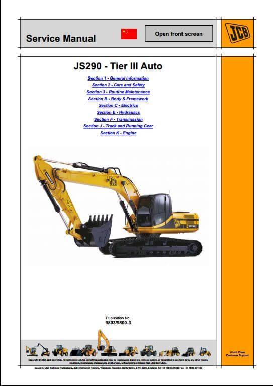 jcb js290 tier iii auto tracked excavators service. Black Bedroom Furniture Sets. Home Design Ideas