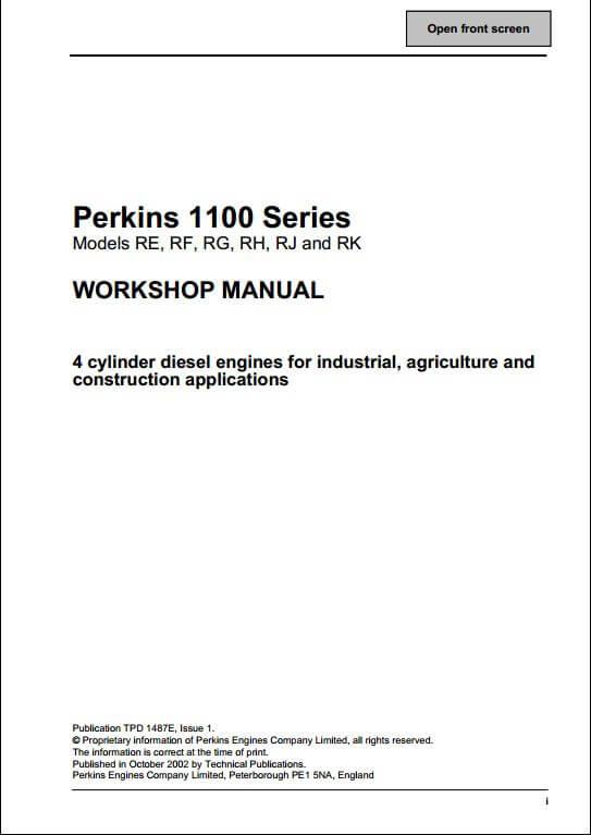 perkins 1100 series engine service repair manual a repair manual instant perkins 1100 series engine service repair manual this manual content all service repair maintenance troubleshooting procedures for