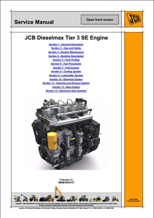 Jcb Dieselmax Tier 3 Se Engine Se Build  Service Repair Manual