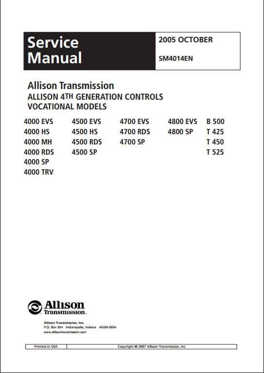 Allison Transmission 4th Generation Controls Vocational