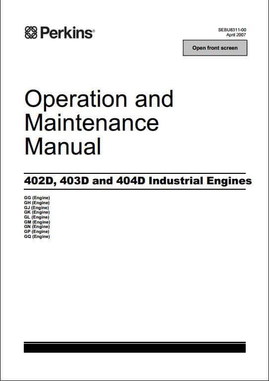 perkins 404d 22t parts manual
