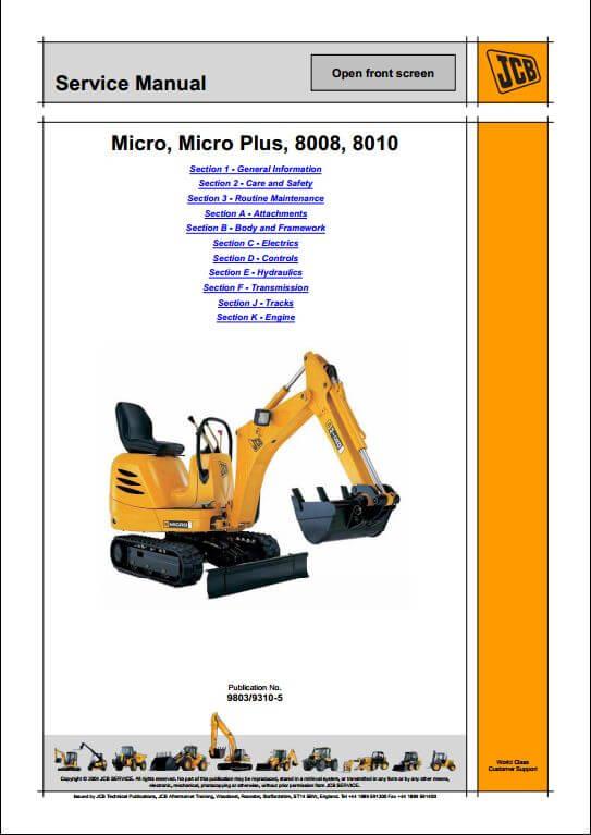 Jcb Micro  Micro Plus  8008  8010 Excavator Service Repair