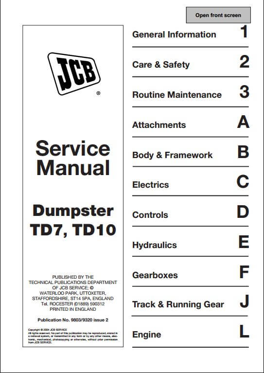 jcb td7 td10 tracked dumpster service repair manual a
