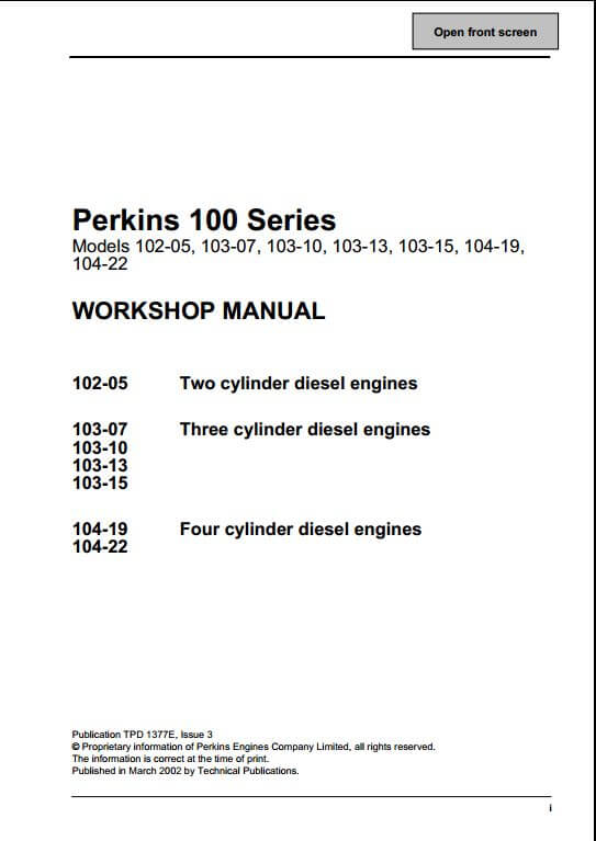 perkins 100 series engine service repair manual a repair manual store rh arepairmanual com Land Pride ZT60 Wiring-Diagram Advance Mark 7 Wiring Diagram