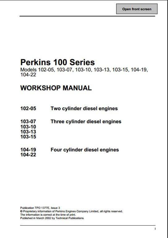 perkins 100 series engine service repair manual a repair manual store