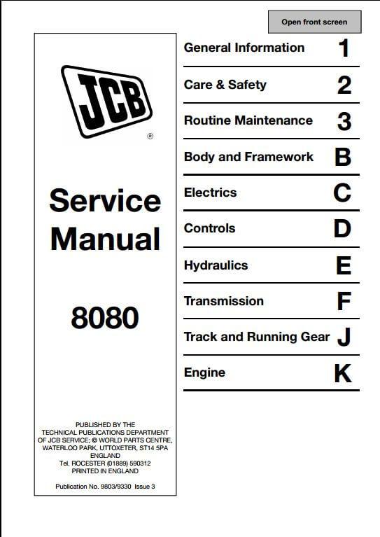jcb track excavator service repair manual a repair manual store instant jcb 8080 track excavator service repair manual this manual content all service repair maintenance troubleshooting procedures for jcb