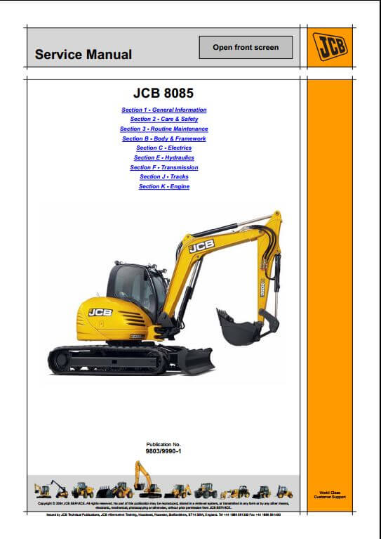 jcb 8085 midi excavator service repair manual a repair manual store rh arepairmanual com Toy Excavator jcb micro excavator service manual