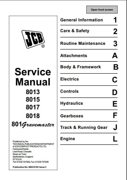 Jcb 8013801580178018801 Gravemaster Mini Excavator Service Repair Manual on case tractor wiring diagram