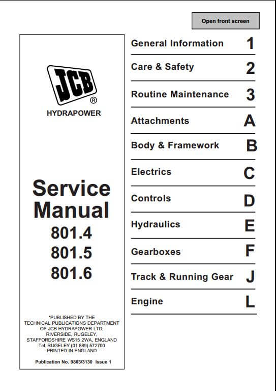 jcb 801 4 801 5 801 6 mini excavator service repair manual a rh arepairmanual com jcb 801 workshop manual jcb 801 parts manual