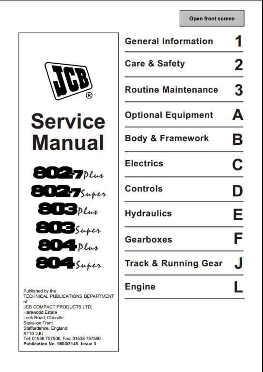 jcb 802 7 803 804 mini excavator service repair manual a repair rh arepairmanual com Craftsman Garage Door Opener Manual Workshop Manuals Oilfield Well Testing