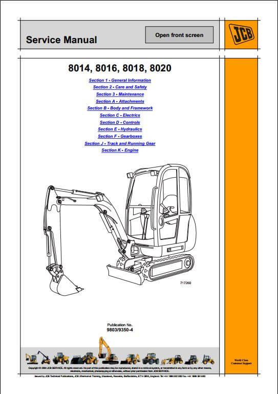 jcb 8014801680188020 mini excavator service repair manual