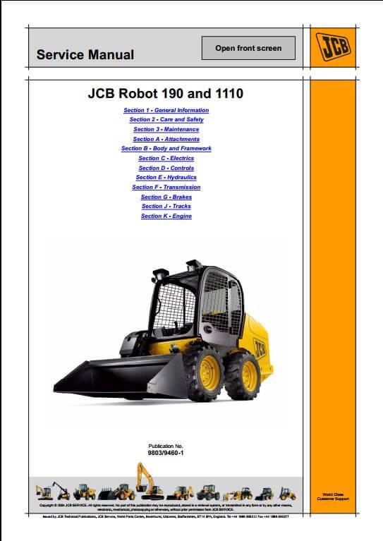 jcb robot 190 1110 skid steer loader service repair manual. Black Bedroom Furniture Sets. Home Design Ideas
