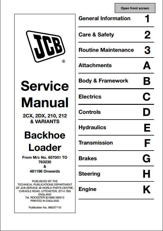JCB 2CX2DX210212 Variants Backhoe Loader Service Repair – Jcb 212 Wiring Schematic
