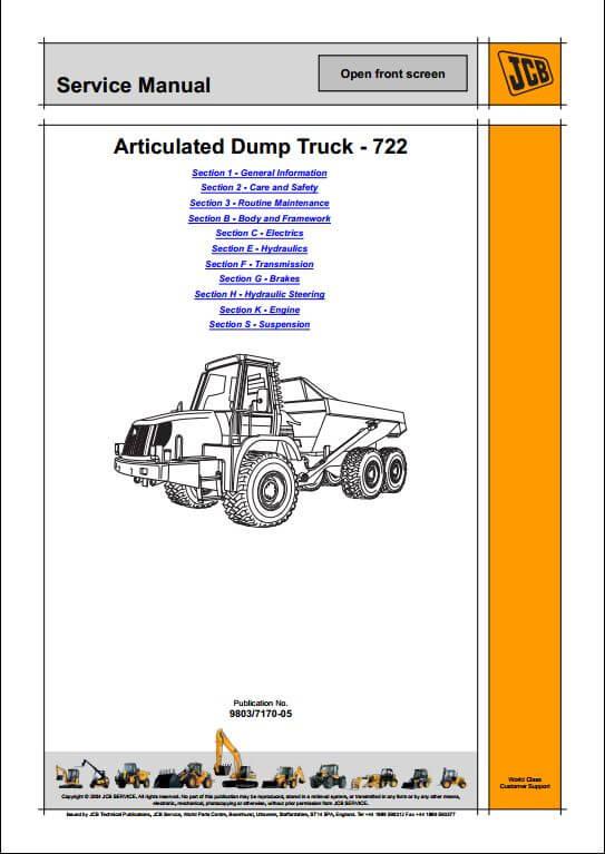 jcb 722 articulated dump truck service repair manual a