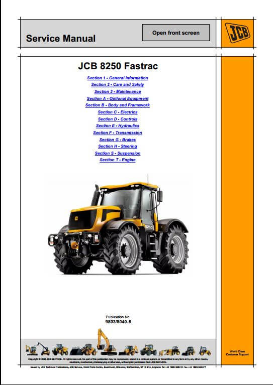 jcb 8250 fastrac service repair manual a repair manual store rh arepairmanual com JCB 520 Jcb Forklift