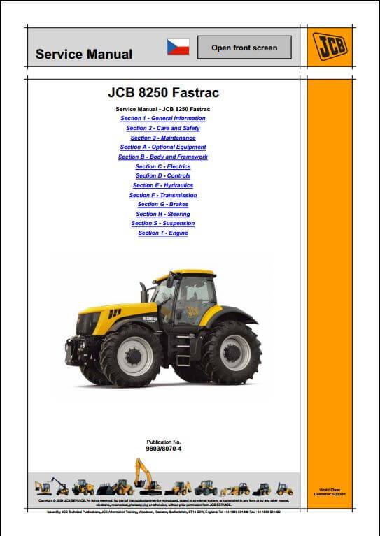 jcb 8250 fastrac service repair manual a repair manual store rh arepairmanual com JCB Equipment JCB 520