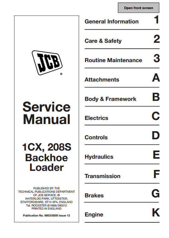 Jcb 1cx 208s Backhoe Loader Service Repair Manual Pn