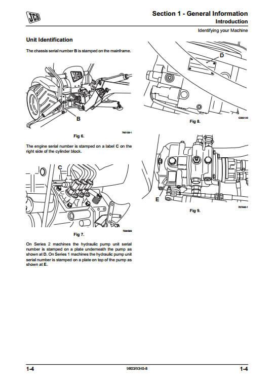 Jcb Mini Cx Backhoe Loader Service Repair Manual Pn 9803
