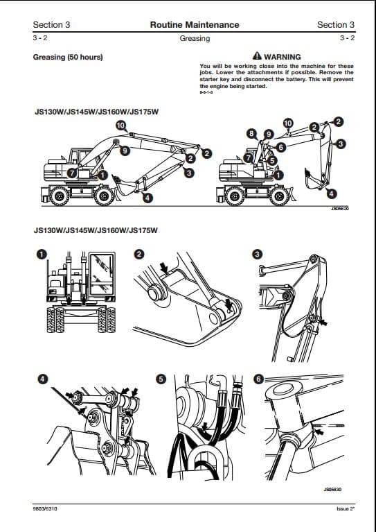 jcb js130w js145w js160w js175w wheeled excavators service. Black Bedroom Furniture Sets. Home Design Ideas