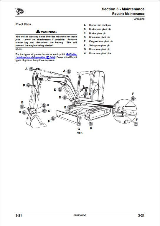 jcb 8025z 8030z 8035z mini excavator service repair manual