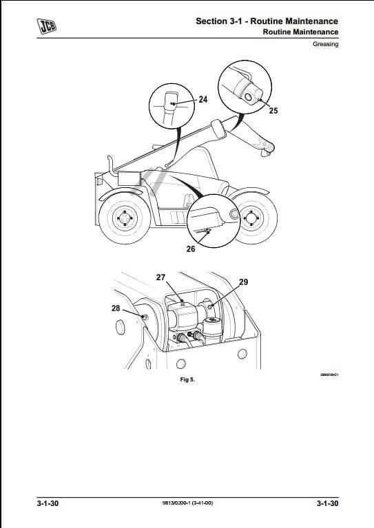 telescopic excavator parts diagram