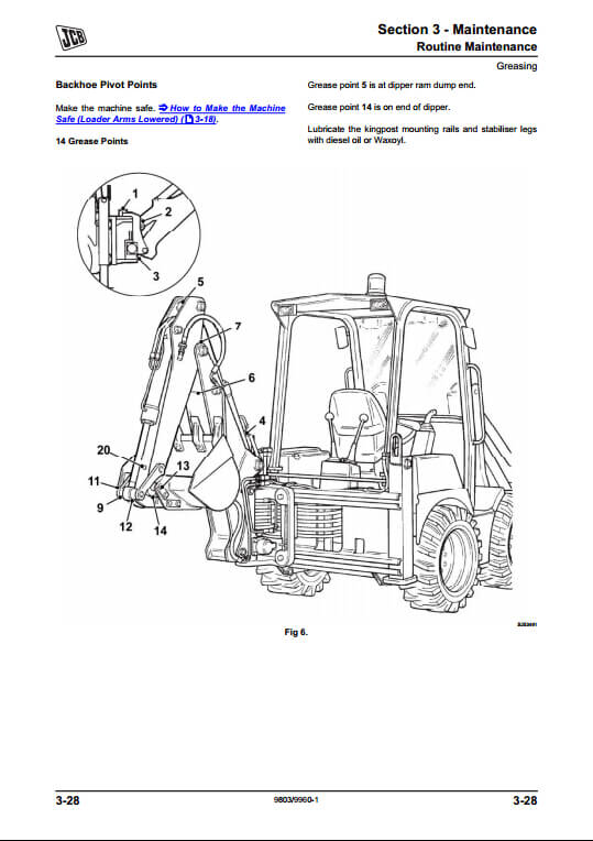 jcb 1cx 208s backhoe loader service repair manual pn 9803