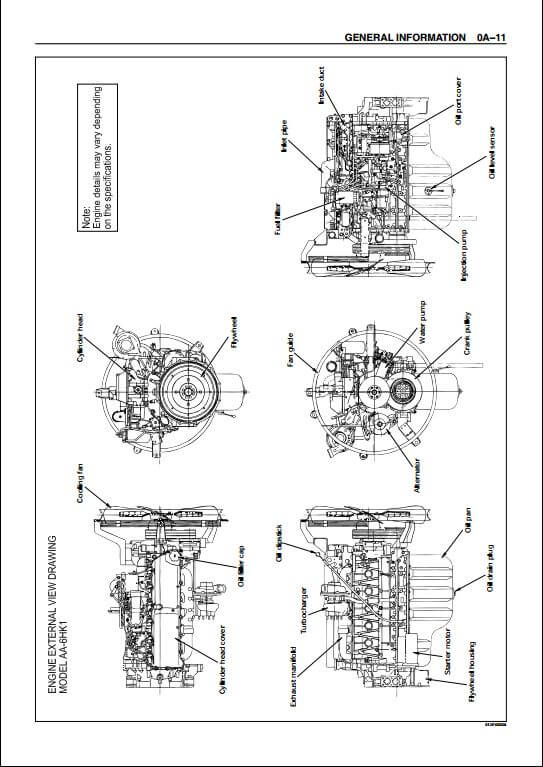 isuzu aa 6hk1t bb 6hk1t industrial diesel engine workshop. Black Bedroom Furniture Sets. Home Design Ideas