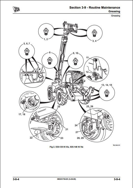 jcb side engine loadalls telescopic handler service repair manual