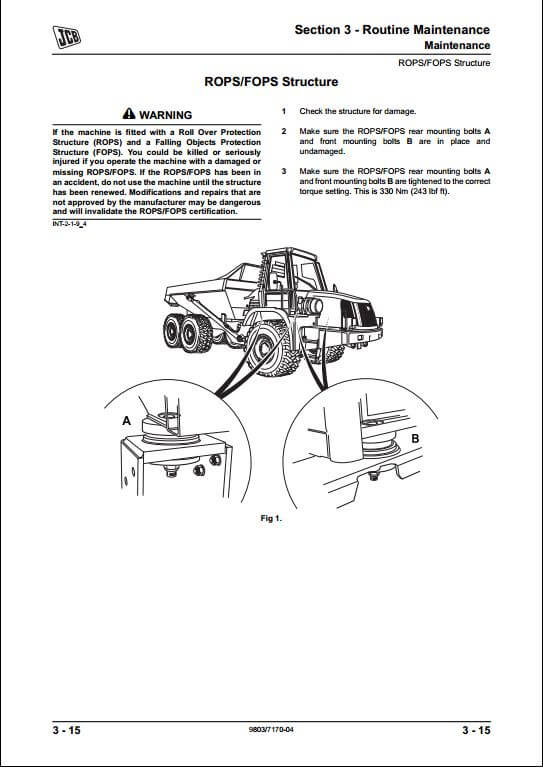 jcb 722 articulated dump truck service repair manual