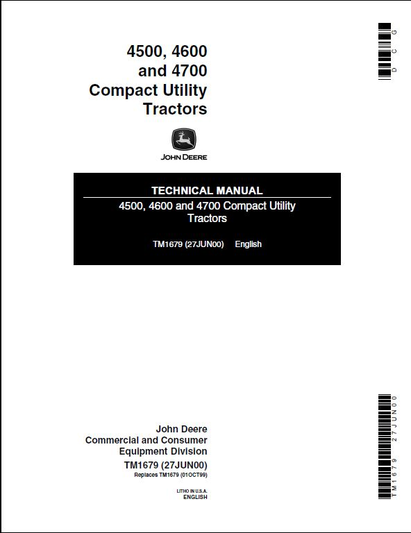 john deere 4500  4600 and 4700 compact utility tractors service repair technical manual