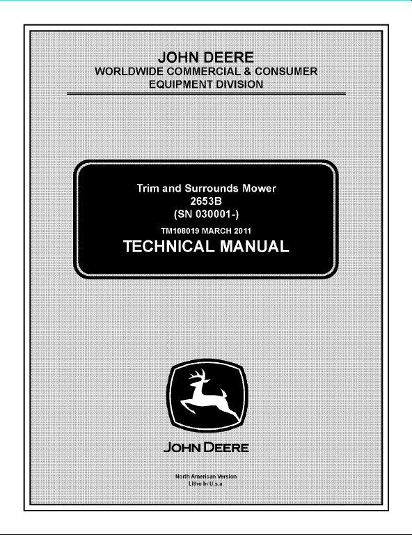 John Deere 2653b Trim And Surrounds Mower Service Repair