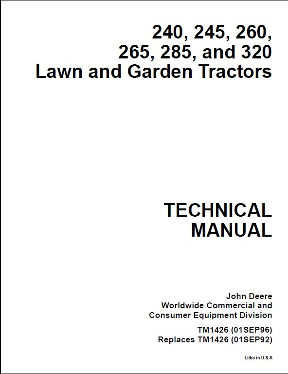 John Deere 240, 250 Skid Steer Loaders Tm1747 Technical Manual Pdf ...