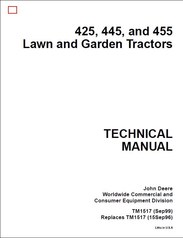 John Deere 425 445 455 Tractor Service Repair Technical Manual Guide