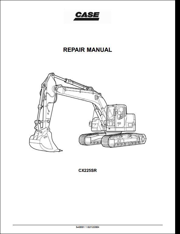 case cx225sr crawler excavators service repair workshop manual