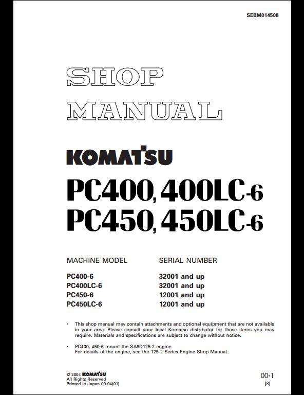 komatsu pc400 6 pc400lc 6 pc450 6 pc450lc 6 hydraulic excavator service repair workshop manual