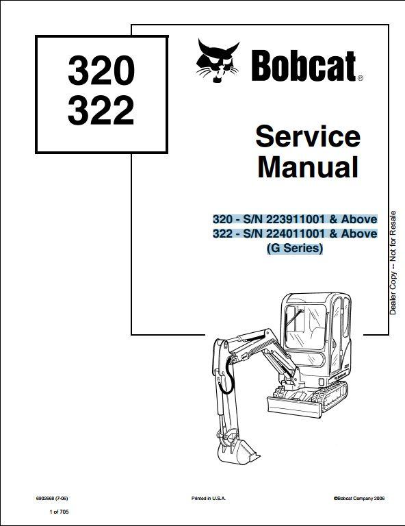 bobcat 320 322 mini excavator service repair workshop