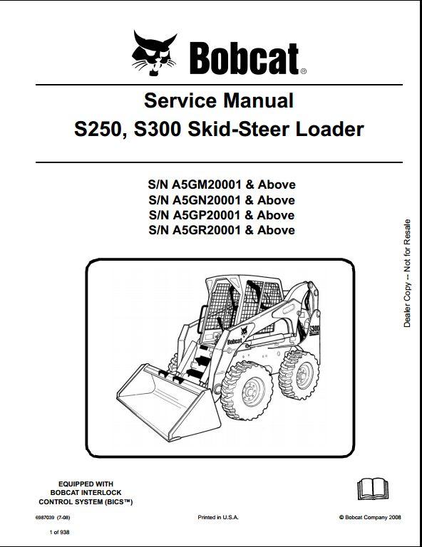 bobcat s250 s300 skid steer loader service repair workshop. Black Bedroom Furniture Sets. Home Design Ideas