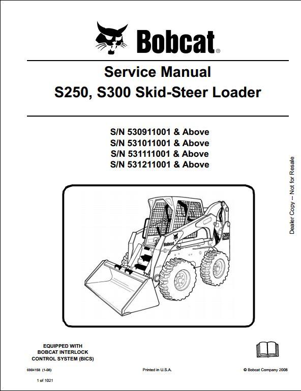 bobcat s250 s300 skid steer loader service repair workshop manual rh arepairmanual com Bobcat S300 Toy bobcat s300 manual
