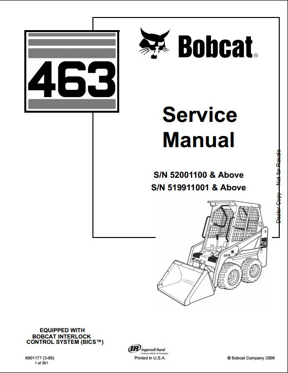 bobcat 463 skid steer loader service repair workshop manual 52001100