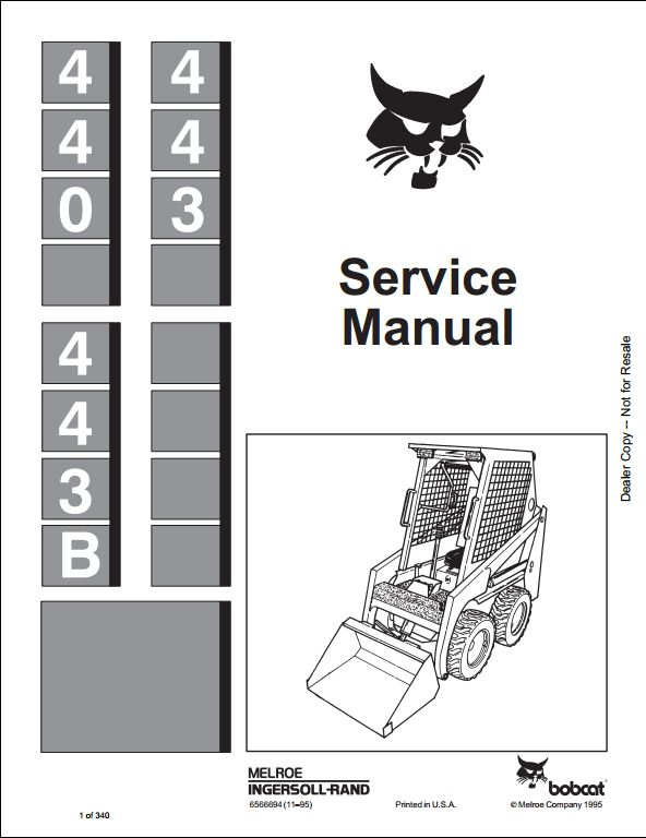 Bobcat 440 443 443B Skid Steer Loader Service Repair