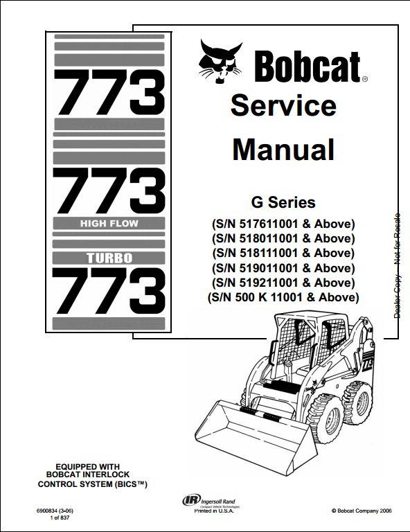 bobcat 773 turbo skid steer loader service repair workshop manual rh arepairmanual com Bobcat 773 RitchieSpecs Bobcat 773 RitchieSpecs