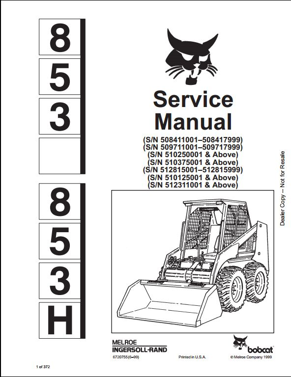 bobcat 853 parts diagram