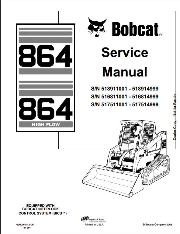 bobcat 864 wiring diagram bobcat starter wiring diagram alternator bobcat 864 high flow skid steer loader service repair ...