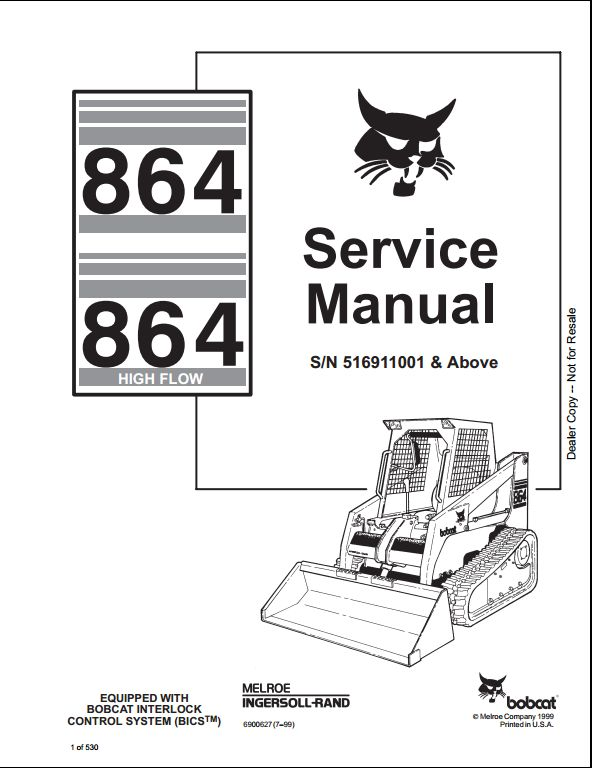 bobcat 864 high flow skid steer loader service repair ... bobcat 864 wiring diagram