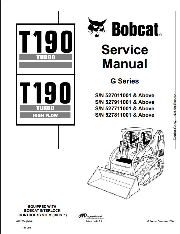 Bobcat T190 Turbo High Flow Track Loader Service Repair