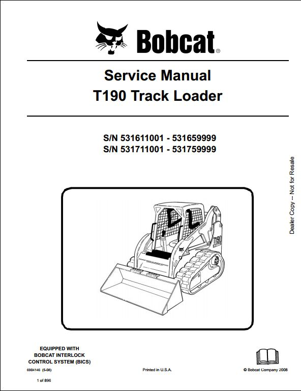 Bobcat T190 Track Loader Service Repair Workshop Manual