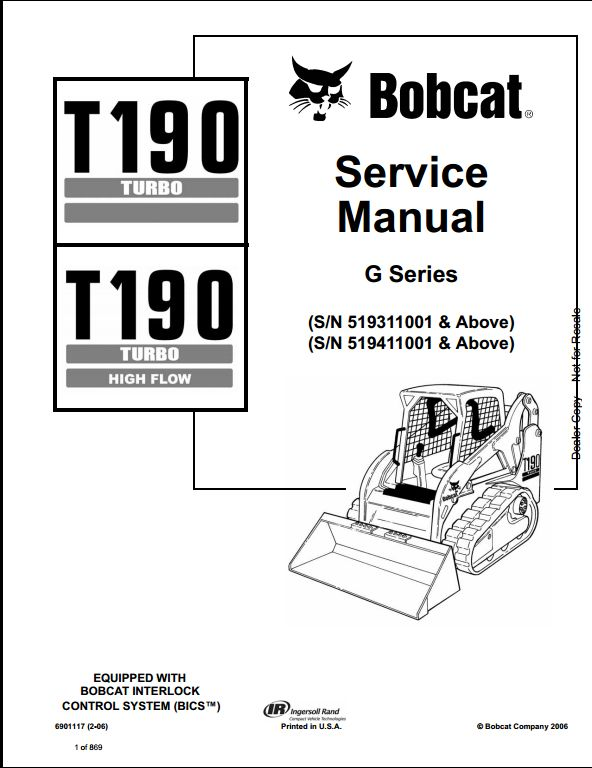 bobcat t190 turbo high flow track loader service repair workshop manual 519311001 519411001 a